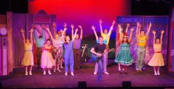 All Shook Up Cast jumping with Preston with guitar (1)
