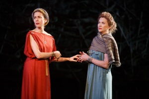 Jessica Hectt as Regan and Annette Bening as Goneril. Photo by Joan Marcus