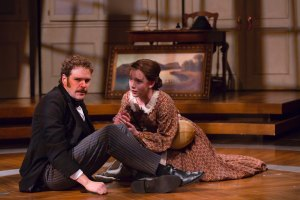 Photo by T. Charles Erickson.  Michael Bakkensen as Dr. Horace Wells and Amelia Pedlow as his wife, Elizabeth