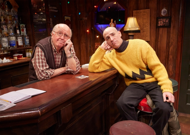 The bartender (Ronn Carroll) with Charlie Brown (Harry Bouvy). Photo by Lanny Nagler.