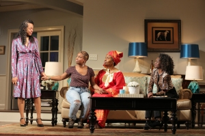 Four of the women of the family. From left, Cherise Boothe as Tendikayi, Shykos Amos as Nyasha, Kimberly Scott as Annie and Patrice Johnson Chevannes as Margaret.  Photo by Joan Marcus.