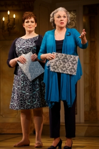 Sister Jenny, Lisa Howard, copes with the nerves of Tyne Daly, the mother-of-the-bride. Photo by Joan Marcus