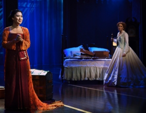 Lady Thiang (Ruthie Ann Miles) and Anna Leonowens (Kelli O'Hara).  Photo by Paul Kolnik.
