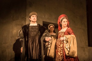 Ben Miles as Thomas Cromwell and Lyida Leonard as Anne Boleyn. Photo by Johan Perssson