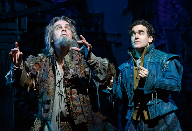 Brad Oscar as Thomas Nostradum and Brian d'Arcy James as Nick Bottom. Photo by Joan Marcus