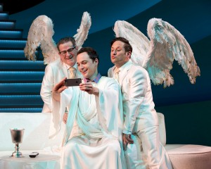 God with his two archangels - Michael (Christopher Fitzgerald) and Gabriel (Tim Kazurinksy). Photo by Jeremy Daniel