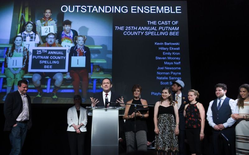 """Outstanding Ensemble - Playhouse on Park's """"The 25th Annual Putnam County Spelling Bee.""""  Photo by Mara Lavitt"""