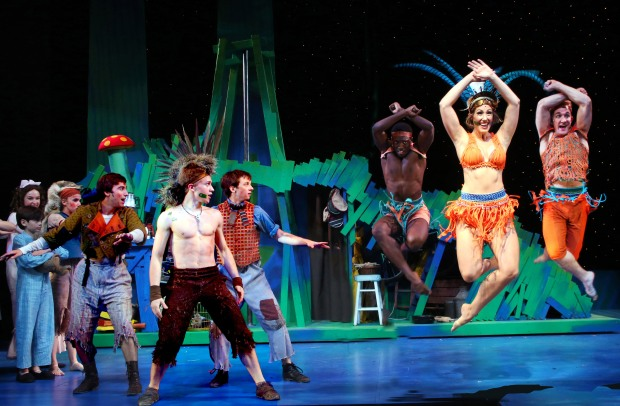 Neveralnd. At left is Peter Pan (Riley Costello) and Tiger Lily (Annie Wallace) right. Photo by Gerry Goodstein