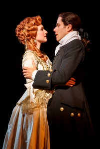 Josh Young as John Newton and Erin Mackey as Mary Catlett, Photo by Joan Marcus.