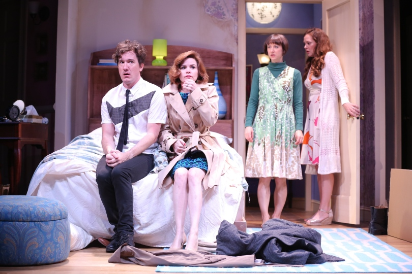 Trevor and Jan look guilty when Kate and Susannah walk in on them. Photo by Carol Rosegg.