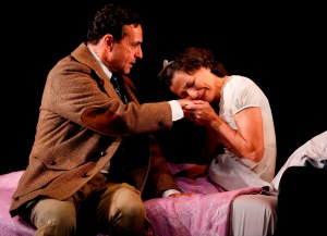 Stephen Schnetzer as Dr. Hyman and Felicity Jones as Sylvia Gellburg.  Photo by Carol Rosegg