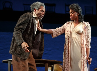 André De Shields and Antoinette Crowe-Legacy in August Wilson's Seven Guitars, directed by Timothy Douglas. Photo by Joan Marcus 2016.
