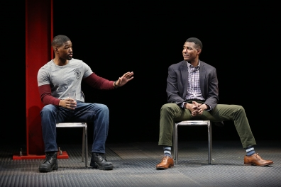 Rob Demery and Billy Eugene Jones in the world premiere of GOOD FAITH by Karen Hartman, directed by Kenny Leon, Yale Repertory Theatre, 2019. Photo by Carol Rosegg.