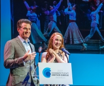 """Edward Watts and Ellie Fishman accepting the award for Outstanding Musical -- 'The Music Man"""""""